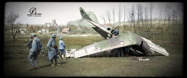 Avion allemand abattu près de Moulins (secteur du Chemin des Dames)