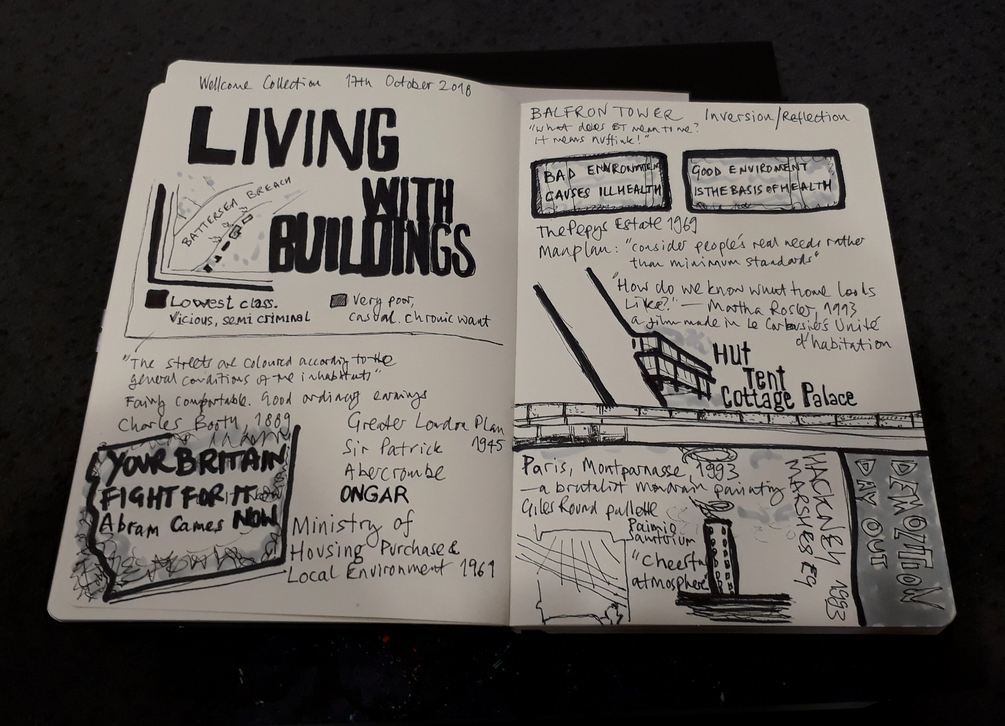 Living with buildings exhibition at the Wellcome Collection