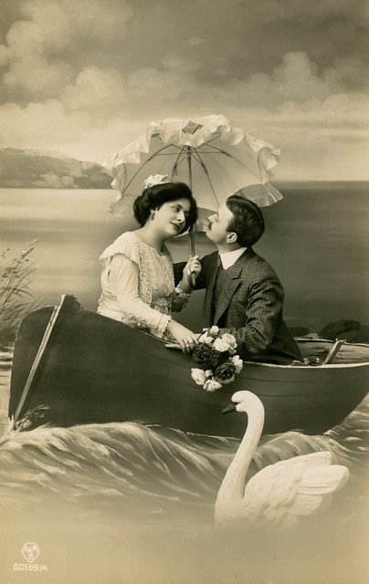 Lovey-Dovey Couple in Boat