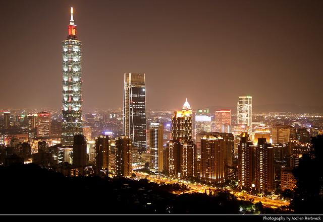 View from Xiangshan at Night, Taipei, Taiwan
