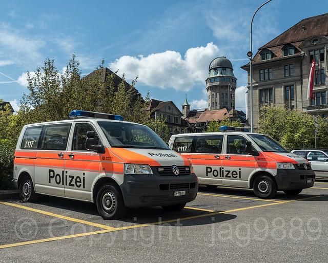 Stadt Zürich Police Vans, Zurich Old Town, Canton of Zurich, Switzerland
