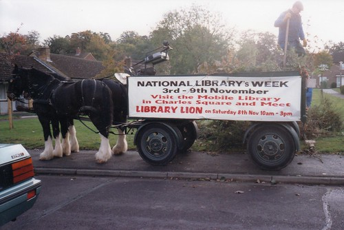 P03 Bracken and Bramble (Shire horses); National Libraries Week and Library Lion advertisement - November 1997