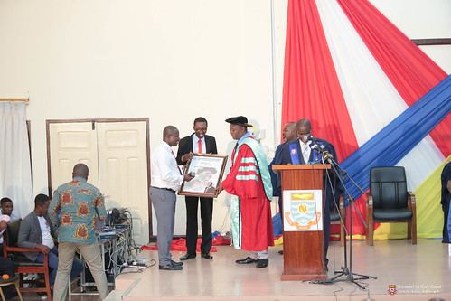 Prof Oduro being acknowledged by staff of the Pro-Vice-Chancellor's Office