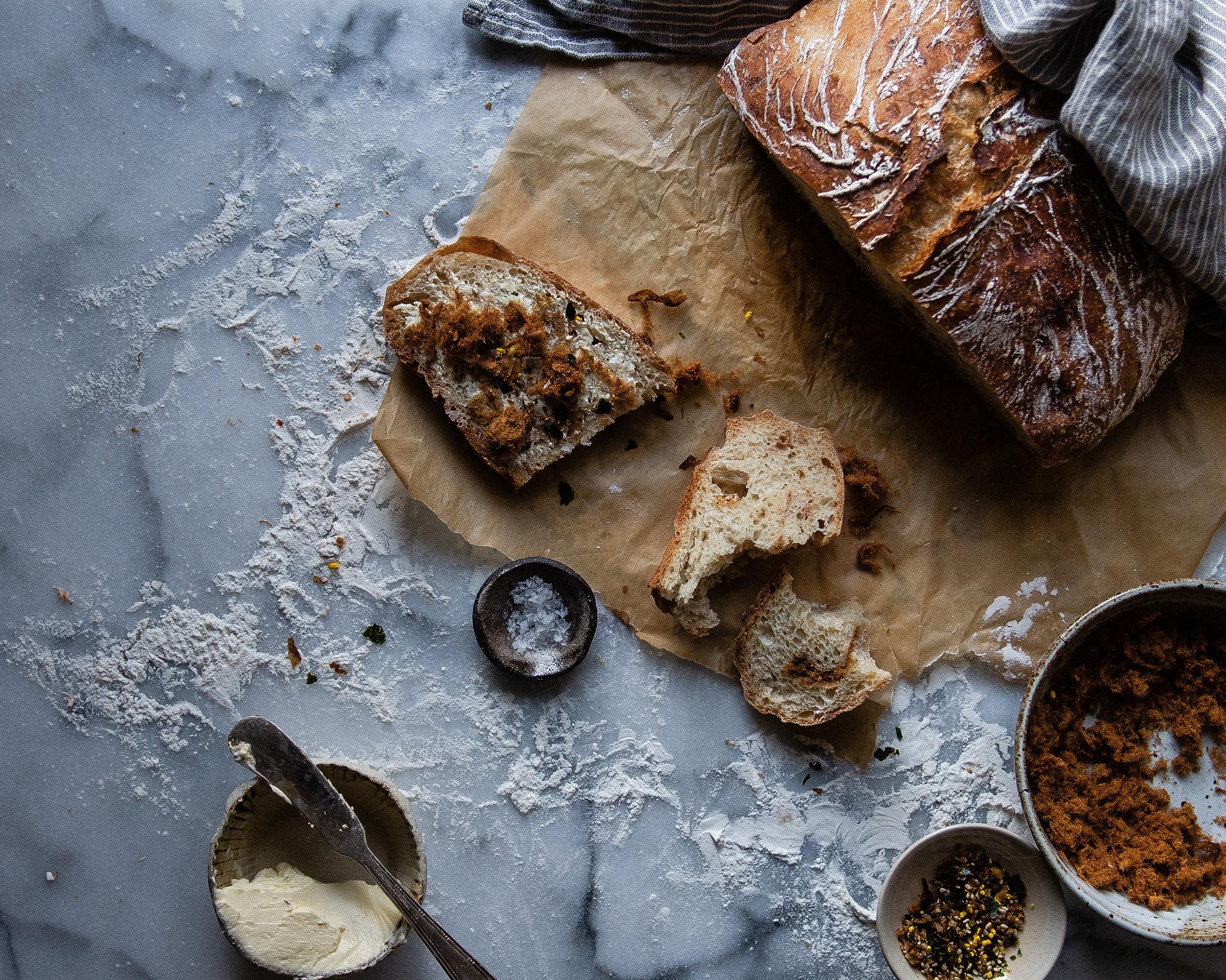 pork sung no knead bread