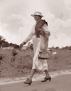 Izzelly Hardin, mid-wife, walking on the road - Riviera Beach