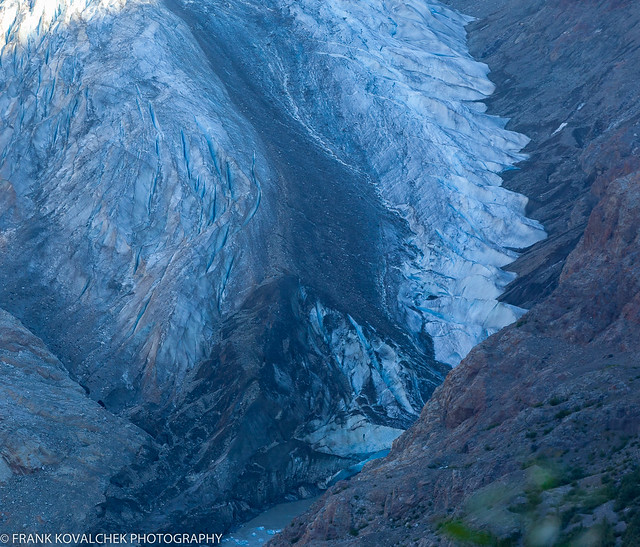 Tongue of the Salmon Glacier in the shadows as the sun rises