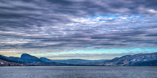okanagan penticton lake view clouds water trees skyline dawn morning bc autumn sunrise panorama