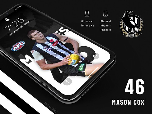 #46 Mason Cox (Collingwood Magpies) iPhone Wallpapers | by Rob Masefield (masey.co)