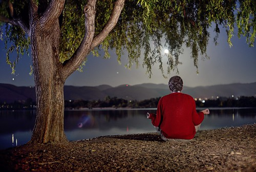 fremont sanjose california siliconvalley sanfranciscobay sanfranciscobayarea southbay park centralpark lake water landscape shore lakeshore night outdoors moon fullmoon moonrise reflection meditation person red sony sonya7 a7 a7ii a7mii alpha7mii ilce7m2 fullframe vintagelens dreamlens canon50mmf095 canon 1xp raw photomatix hdr qualityhdr qualityhdrphotography tree fav100