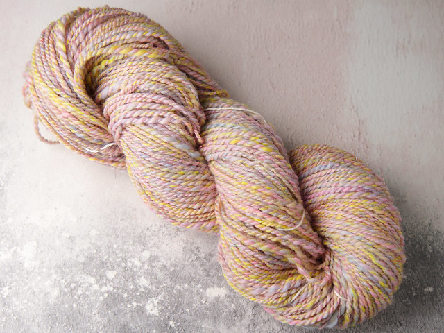 Handspun aran weight sparkle yarn extra fine Merino wool and Stellina 90g – cupcake (pastel pink, yellow, blue)