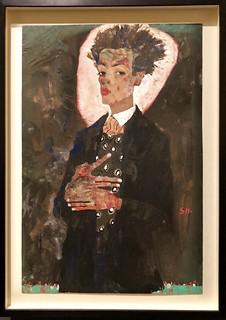 Autoportrait au gilet, debout, 1911, Egon Schiele