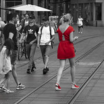 Red colored black and white