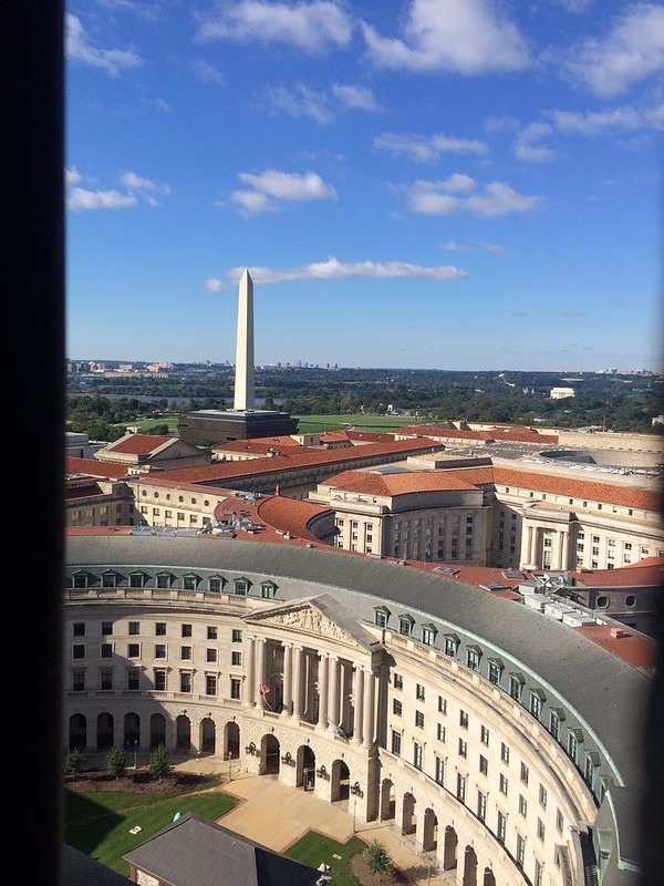 View from top of clock tower at The Trump Hotel. Original The post office of Washington DC but renovated 2014 to 2016 into 5 stars hotel. Building owned by the government