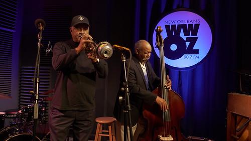 Wendell Brunious and Richard Moten Pres Hall Trio at WWOZ - 10.26.18. Photo by Charlie Steiner.