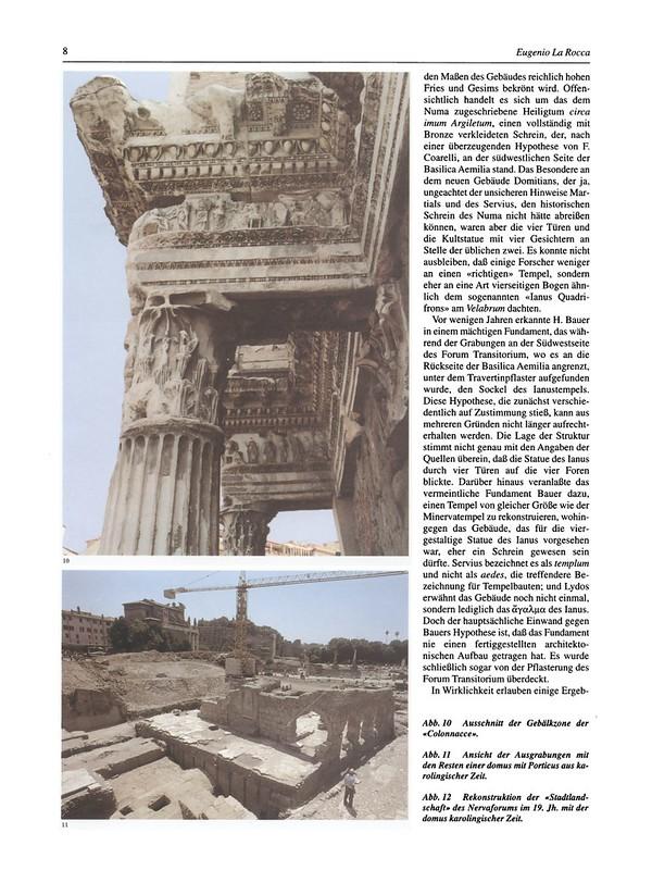 """ROMA ARCHEOLOGICA & RESTAURO ARCHITETTURA: Eugenio La Rocca,. """"Das Forum Transitorium: Neues Zu Bauplanung Und Realisierung [= Foro di Nerva - Scavi negli anni 1995-1997]."""" Antike Welt 29, no. 1 (1998): 1-12;"""