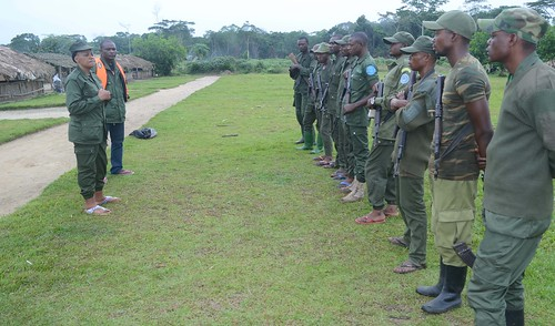 Head warden Chantal and assistant Didier address guards in Bangaliwa | by teresehart