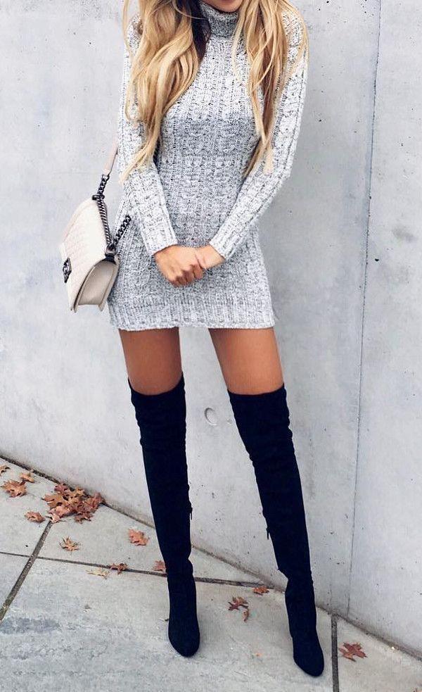grande qualité bons plans sur la mode divers styles Chaussure CHANEL : Stuart Weitzman boots/ grey sweater dre ...