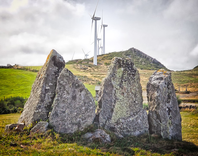 Neolithic standing stones and windmills at  Alto de Montouzo along the Camino Primitivo