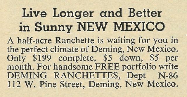 1962 Ad, Deming Ranchettes in New Mexico, Portfolio Offer