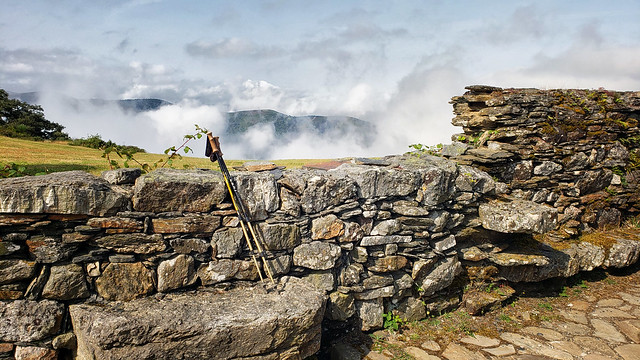 Above the clouds at the ruined pilgrim's refuge on Alto de Montouto on the Camino Primitivo