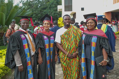 Mr. Nasir, Mrs. Owusu Sekyere, the Mace Bearer (in kente), Mr. Frank Boakye Yiadom, and Ms. Atta-Gyamfi waiting for the Convocation procession