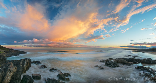 australia coffsharbour sunset ocean longexposure clouds water rocks beach