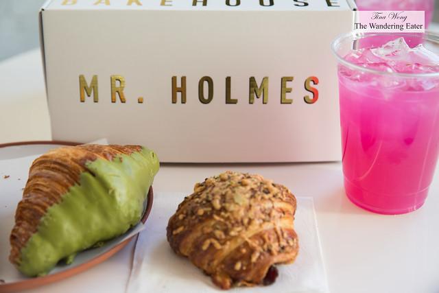 Matcha croissant, Just Try It savory croissant and pink yuzu basil lemonade