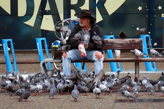 Train station birdseed dude