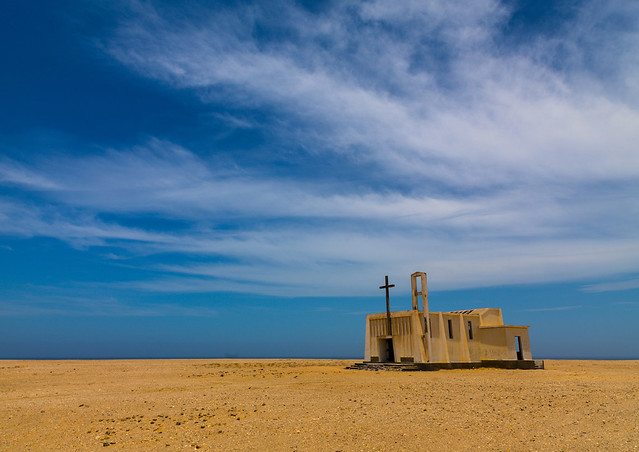 Abandoned church from the portuguese colonial area, Namibe Province, Tomboa, Angola