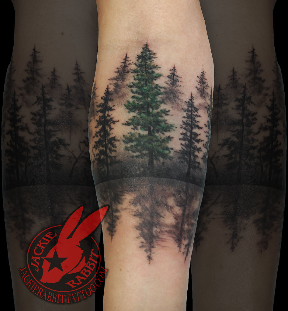 797169c55e354 ... Pine Tree Forest Silhouette Realistic Around Arm Tattoo by Jackie  rabbit | by Jackie rabbit Tattoos
