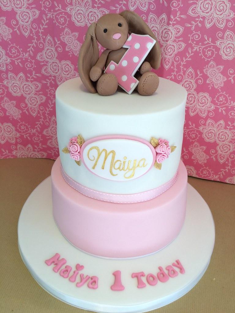 Girls First Birthday Bunny Cake