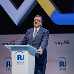 Jose Manuel Barroso during Plenary session 1 at IRU World Congress in Muscat, Oman
