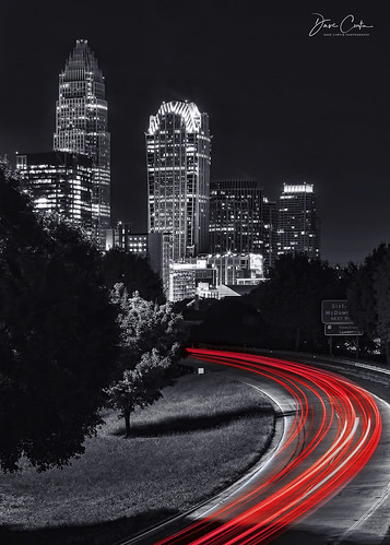 charlotte northcarolina longexposure light night evening cityscape nightscape lines traffic interstate bridge city building centralave centralavenue