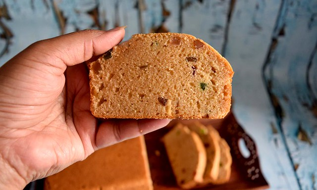 Slice of Britannia style Eggless Fruit Cake with Whole wheat