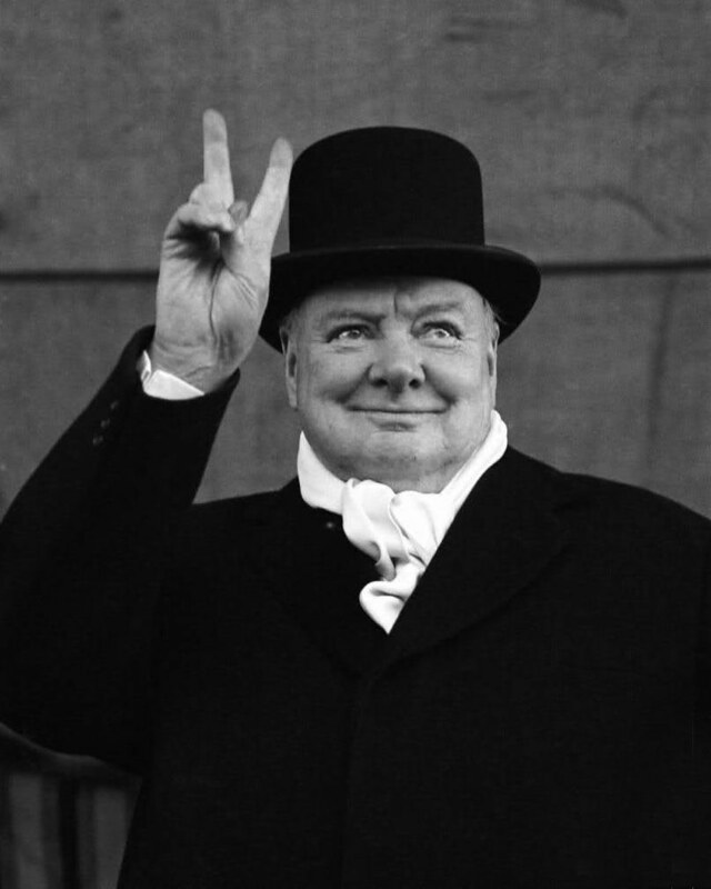 Winston Churchill Giving V Sign, 1951