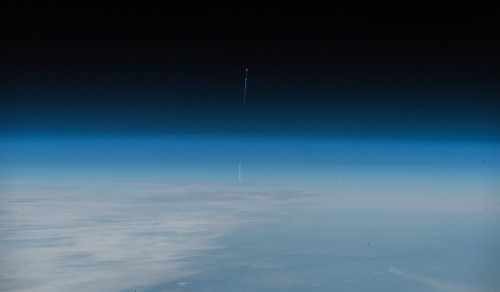 Image of the Soyuz MS-10 launch as seen from the International Space Station | by Astro_Alex