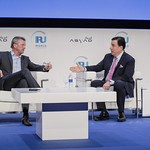 Kevin Gaskell and John Defterios during Plenary 3 session at IRU World Congress