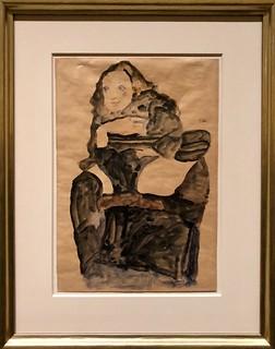 Jeune Fille assise, la jambe gauche Relevée, 1911, Egon Schiele
