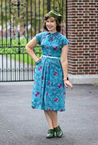 Aqua floral-and-bow 1940s dress | by polka.polish
