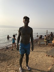 The Dead Sea Mud, the Marriot Beach, the Dead Sea Marriott Resort & Spa, Jordan.