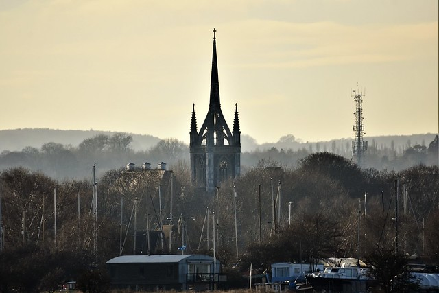 Spire, and masts.