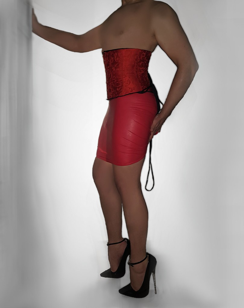 71afb49149 ... Dracula Red Brocade Corset, Latex Skirt and 7,5 inch Highheels | by  LunaDareKitty