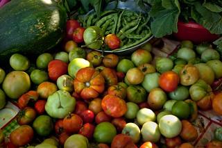 Légumes grecs. Étal bio à l'entrée d'un petit jardin.