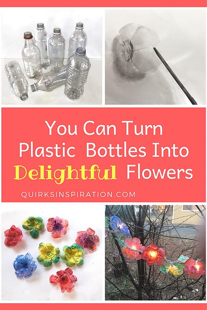Turn drinking water bottles into a pretty string of flower lights