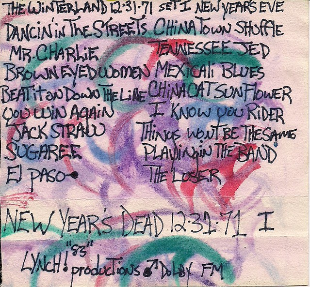 12-31-1971 New Years Grateful Dead Tape Cover Art
