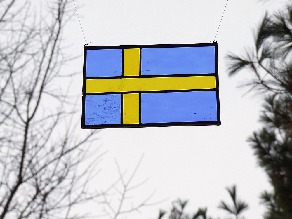 Glass Swedish Flag Stained Unique Home Decor