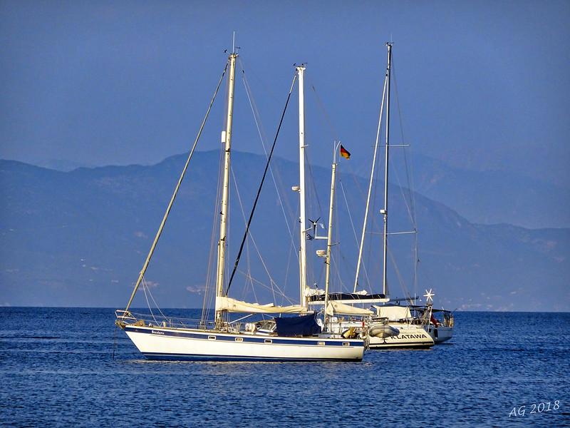 Sailboats outside the harbor of Gaios.