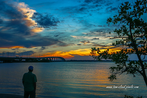 sun sunrise sewallspoint park tree bridge causeway sky clouds cloudy weather bluesky orange horizon man watch watching nature mothernature outdoors dawn morning stuart florida usa