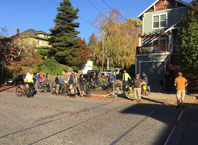 Urban Adventure Leagues Remanants and Relics Ride 2.  Remnant of the PRL&P Sunnyside (SS) line at the south east corner of Lone Fir cemetery.  Portland Oregon, October 20 2018.