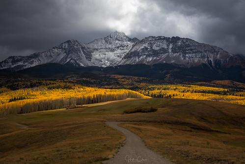 aspentrees autumn fallcolors landscape wilsonmesa sanjuanmountains overcastsky curvedroad colorado moody spotlight leadingline darkclouds telluride unitedstates us